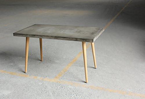 Placa de cemento hormigón, estructura de roble barnizada mesa 140 ...