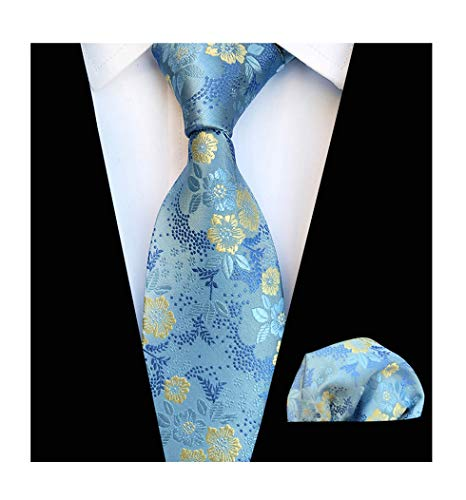 Men's Sky Blue Ties Set Yellow Spring Floral Party Wedding Silk Paisley Neckties