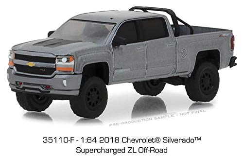 2018 Chevrolet Silverado 1500 Supercharged Zl Off-Road Pickup Truck Gray All Terrain Series 7 1/64 Diecast Model Car by Greenlight 35110 F