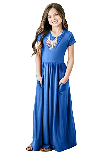 Foshow Girls Short Sleeve Maxi Dress Empire Waist Plain Pleated Swing Dresses with Pockets,Blue,size:US 4-5Years/Height:43in -
