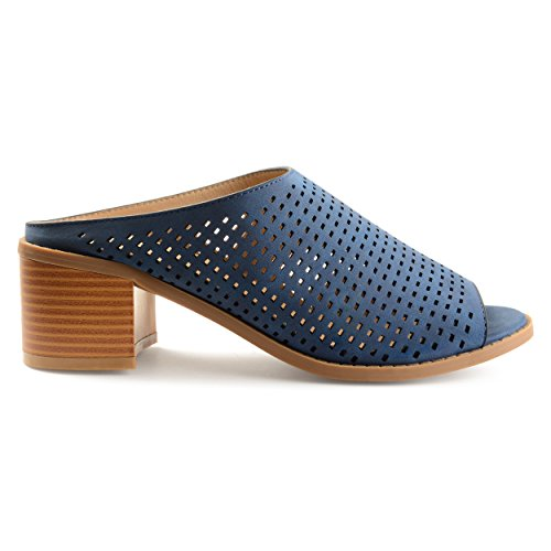 Brinley Co. Womens Zess Faux Nubuck Open-Toe Perforated Mules Blue, 9 Regular US ()