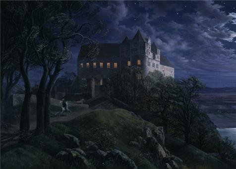 The Polyster Canvas Of Oil Painting 'Ernst Ferdinand Oehme-Burg Scharfenberg At Night,1827' ,size: 24x34 Inch / 61x85 Cm ,this Amazing Art Decorative Prints On Canvas Is Fit For Study Artwork And Home Artwork And Gifts