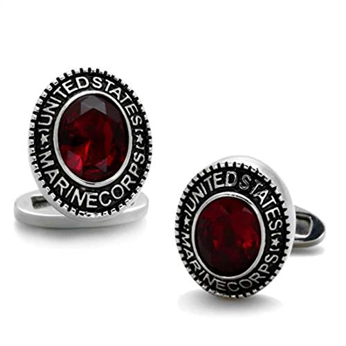 Drop of Silver Stainless Steel Oval US Marine Corps Military Cufflinks with Red Stone (Stainless Steel Oval Cufflinks)