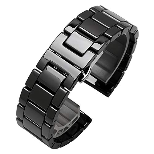 Ceramic Watch Band Universal Strap with Quick Release Pins Butterfly Buckle Deployment Clasp Bracelet (22mm, - Pin Butterfly Black