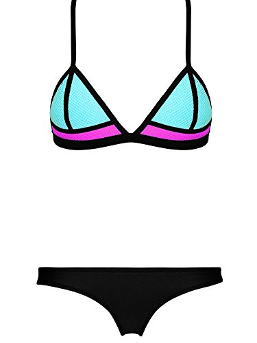 DOIOWN Women's Sexy Neoprene Color Block Triangle Bikini Bathing Suit Beachwear SML (Large, Black)