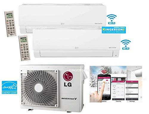 LG 1.5 TON 18000 BTU SEER 22 Dual Zone 9K + 9K Heat and Cool Mini Split AC Heat Pump System Energy Star with Built in WiFi