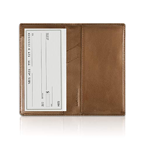 Price comparison product image Leather Checkbook Cover with Pen Holder and Built-in Divider Basic Checkbook Holder Case for Men&Women