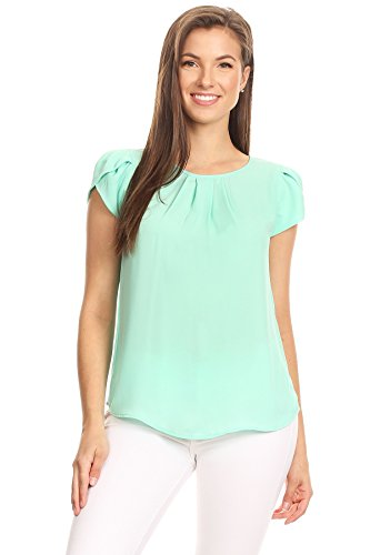 Blouse Mint - VIA Jay's Basic Casual Simple Short Puff Sleeve Relaxed Blouse TOP (Mint, Small)