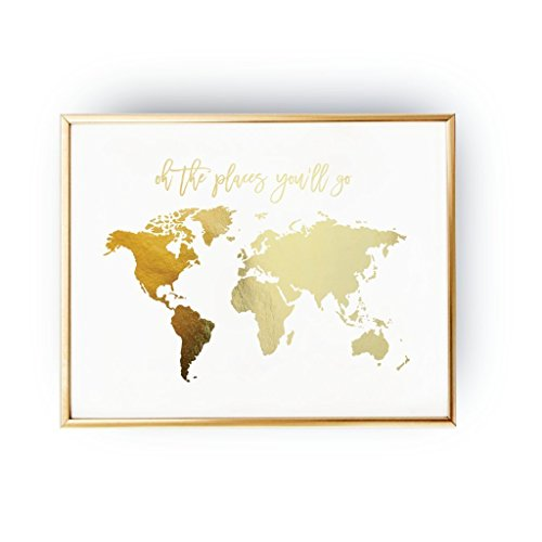 Amazon oh the places youll go world map poster real gold amazon oh the places youll go world map poster real gold foil map print gold foil world atlas geography art print gold map poster gold art gumiabroncs Choice Image