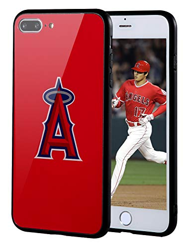 """Sportula MLB Phone Case Compatible for Apple iPhone 7 Plus, iPhone 8 Plus (5.5""""), Non-Fading Tempered Glass Cover, Hard PC Protective Board, Reinforced TPU Bumper Hybrid Case (Los Angels Angels)"""
