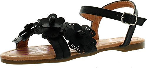 (Yokids Cindee-73 Little Girls Flat Sandals with Front Flower)
