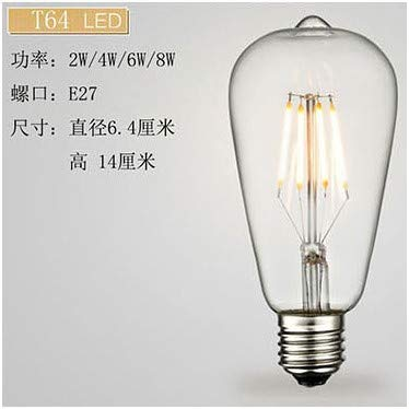 Led Bulbs Light Bulbs Led Edison Bulb E27 Screw White Warm Yellow Light Retro Nostalgia 2W4W6W8W Creative Art Bulb, 4, St64-Diameter 64Mm, Warm White