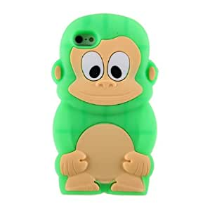 Cute Lovely Colorful 3d Monkey in Green Silicon Rubber Gel Case Cover Accessories for Iphone 4/4s