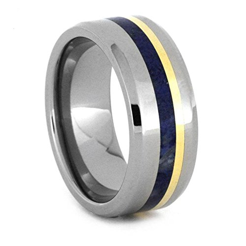 The Men's Jewelry Store (Unisex Jewelry) Lapis Lazuli, 18k Yellow Gold 8mm Titanium Comfort-Fit Wedding Band, Size 14.25