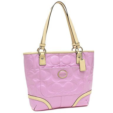 53f484bec430 Image Unavailable. Image not available for. Color  Coach 22322 Peyton Orchid    Tan Embossed Patent Leather Tote