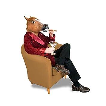 traje de máscara de látex cabeza de caballo del traje