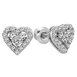 Women's Princess White Diamond Heart Studs