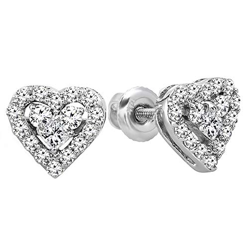Earrings Heart Round Diamond Shaped - Dazzlingrock Collection 0.55 Carat (ctw) 10K Round & Princess Diamond Ladies Heart Shaped Stud Earrings 1/2 CT, White Gold