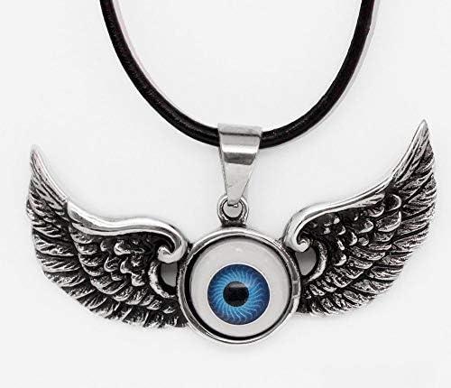 ZUOZUO Lederhalskette Herren Titan Edelstahl Bird Wing Eye Rock Cool Anhänger Lederhalskette