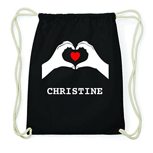 JOllify CHRISTINE Hipster Turnbeutel Tasche Rucksack aus Baumwolle - Farbe: schwarz Design: Hände Herz UcJESO