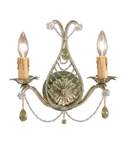 Crystorama 4712-GL, Abigail Candle Murano Crystal Wall Sconce Lighting, 2 Light, 120 Watts, Gold