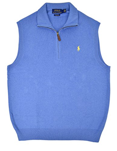 Polo Ralph Lauren Men's Pima Cotton Half Zip Sweater Vest Pale Royal ()