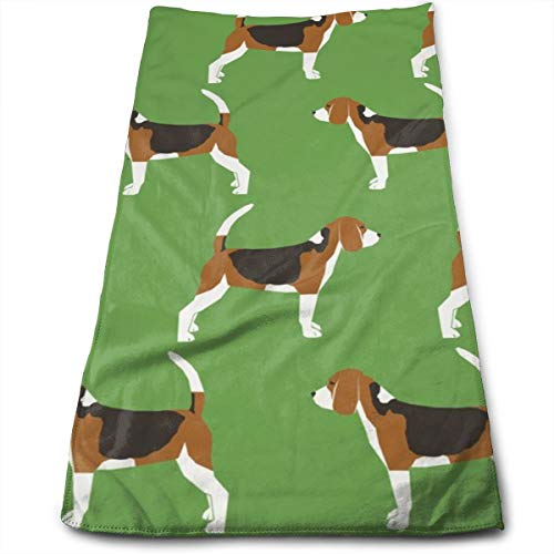 Beagle Green Classic Dog Pet Dogs Cute Dog Hand Towels Dishcloth Floral Linen Hand Towels Super Soft Extra Absorbent for Bath,Spa and Gym 11.8