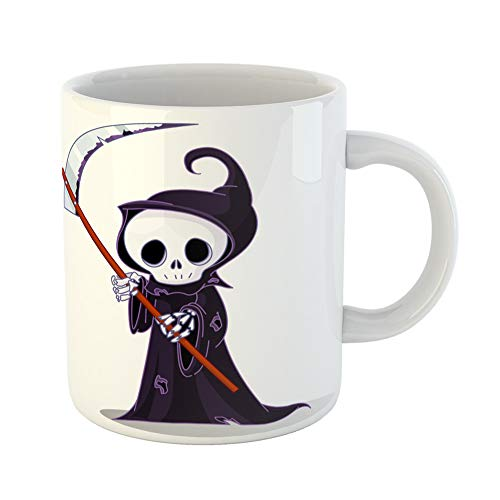 Emvency Coffee Tea Mug Gift 11 Ounces Funny Ceramic Ghost Cute Cartoon Grim Reaper Scythe White Raster Abstract Gifts For Family Friends Coworkers Boss Mug ()