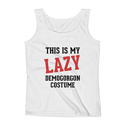 (Mad Over Shirts This is My Lazy Demogorgon Costume Small White Unisex Premium Tank)