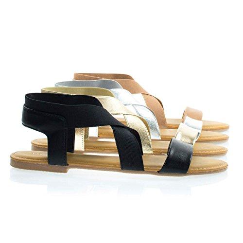 Glissière Dété Décontractée Pour Femme À Bout Ouvert Sandale Plate W Sangle Croisée Élastique Noir