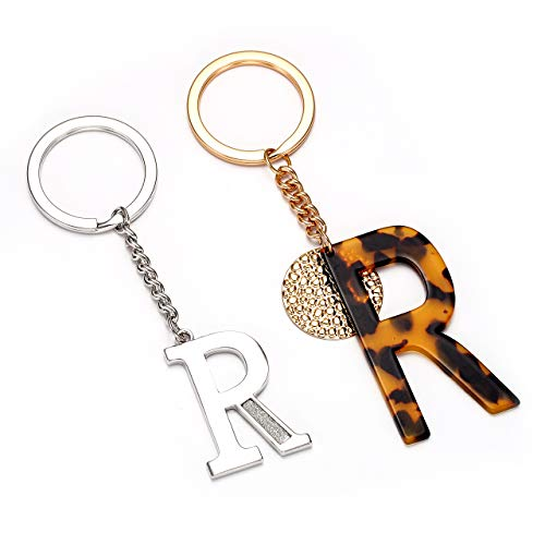 Keychain For Women Purse Charms Key Ring Keychain Set For Handbags Glitter Alphabet Initial Letter Pendant With Key Ring (R)