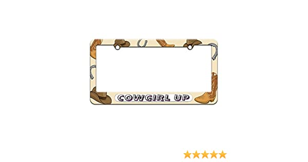 Proud To Be A Cowboy Metal Hot Pink License Plate Frame Tag Holder