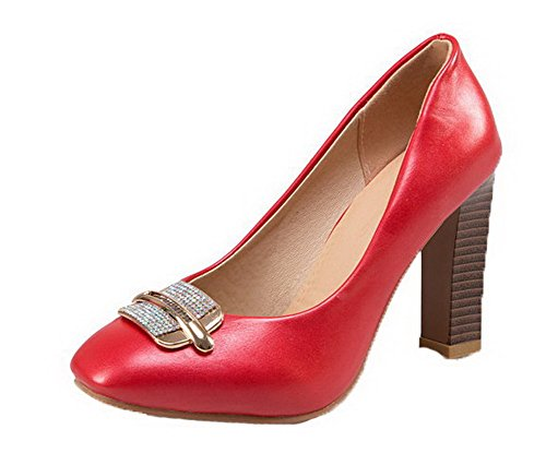 VogueZone009 Women's High-Heels PU Pull-On Solid Closed-Toe Pumps-Shoes Red icxnRJ2nw