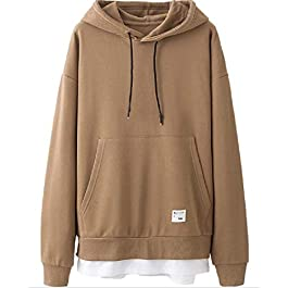 Men's  Loose Hooded Fake Two Piece Sweatshirts Top, Hoodie