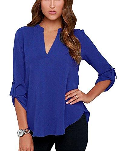 Tunique V Elgant Uni Blouse Shirts Blouse Chemisier Longues Col Casual Manches 2 Slim Hauts Bleu Tops Femme q4wpYY