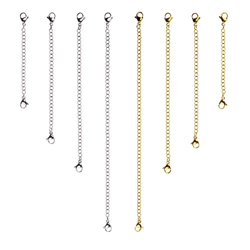D-buy 8 Pcs Stainless Steel Necklace Extender Bracelet Extender Extender Chain Set 4 Different length: 6 4 3 2 (4 Gold, 4 Silver)