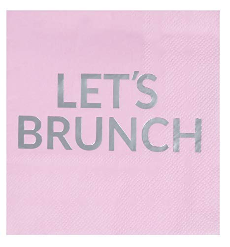 Cocktail Napkins - 50-Pack Let's Brunch Disposable Paper Napkins, 3-Ply, Pink with Silver Foil, Birthday Brunch Decorations, Bridal Shower Party Supplies, Folded 5 x 5 Inches -