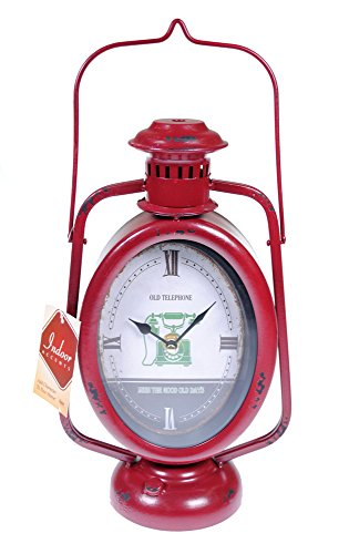 Alpine Indoor Accents 12 in Rustic Railroad Hurricane Lantern Table Clock - Red (Alpine Lantern)