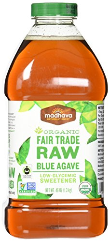 Madhava Naturally Sweet Organic Blue Agave Low-Glycemic Sweetener, Fair Trade Raw, 46 Ounce (Pack of 2)