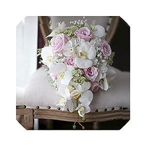 Ivory Pink Cascading Bridal Bouquets De Mariage Roses Orchid Artificial Silk Flower Wedding Bouquet 25