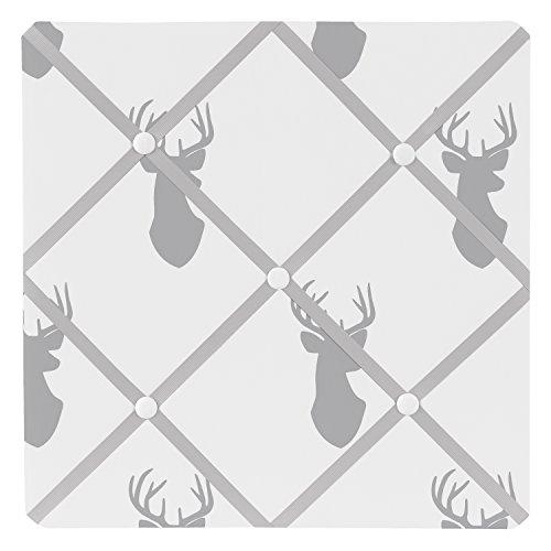 Sweet JoJo Designs Grey and White Woodland Deer Fabric Memory/Memo Photo Bulletin Board by Sweet Jojo Designs