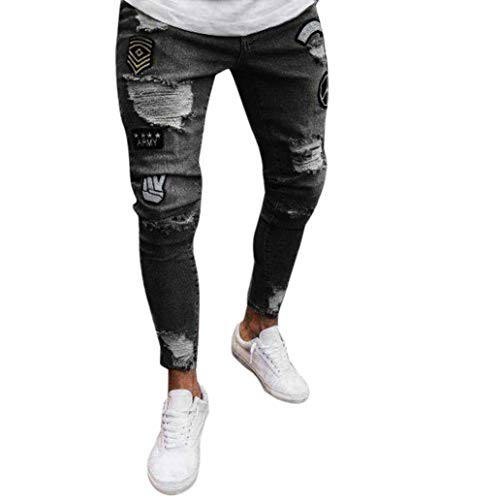 Pants Leisure Distressed Azul Frayed Sportsspants Rip Biker Dunkelgrau Jeans Transpirable Denim Moda Y Streetwear Casual Nne Pants Negro Fit Largos Slim Skinny Elástico Hombre Pantalones PwqH6OF