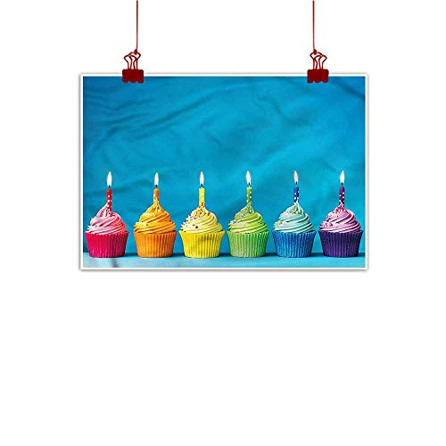 Sunset glow Wall Art Painting Print Birthday,Cupcakes Party Food 28