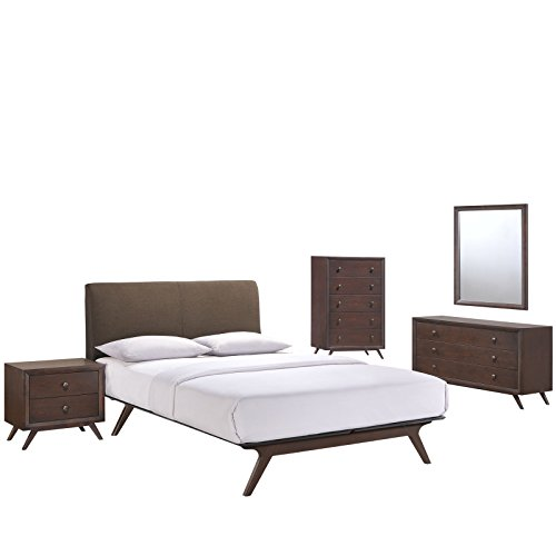 Modway Tracy Mid-Century Modern Wood Platform Queen Size Bed with a Nightstand, Mirror, Chest and Dresser in Cappuccino ()