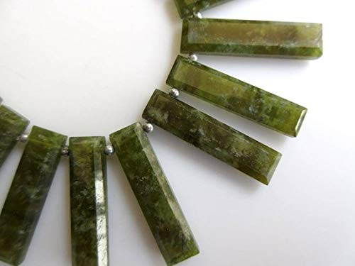 Gems World Beautiful Jewelry Natural Vessonite Long Baguette Shaped Step Cut Side Drilled Faceted Cabochon, Vesuvianite Briolette Beads, Green Garnet Jewelry 4