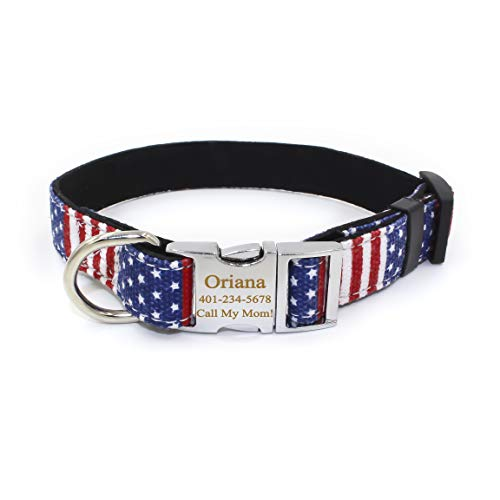 Smartyou Personalized Dog Collar, Available with Matching Leash Set, Metal Buckle Engraved Dog Collar with Dog Name & Phone Number (Collar Dog American Flag)