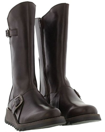 Leather Fly 2 Brown Womens Boots London Mes Calf Mid Dark wwxqg6C7