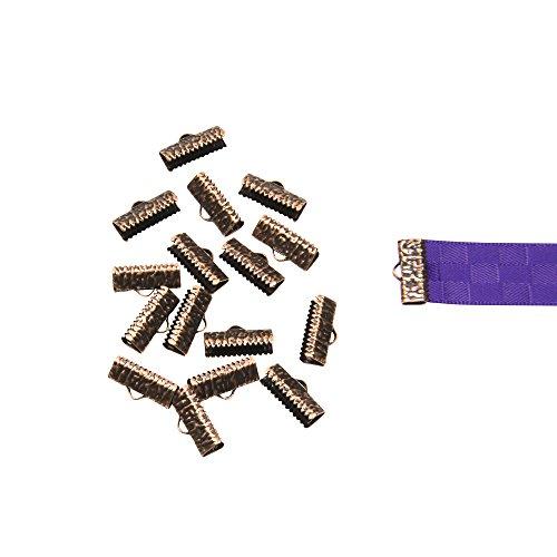 Twilight's Fancy 150pcs 16mm or 5/8 inch Antique Copper Ribbon Clamp End Crimps - Artisan Series Antique Copper Ribbon
