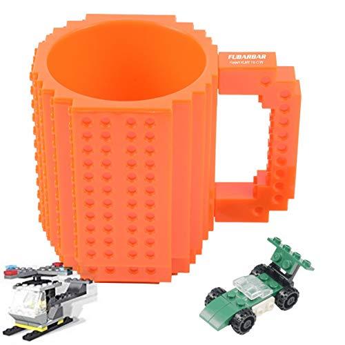 Brick Mugs [Updated Version] Fubarbar 12 oz Coffee Cups Funny Tea Mug Beverage Cup Built-on Building Bricks enjoy Creative Time (Orange)