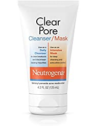 Neutrogena Clear Pore Facial Cleanser / Face Mask containing Kaolin & Bentonite Clay, Acne Treatment with Benzoyl Peroxide, 4.2 fl. oz